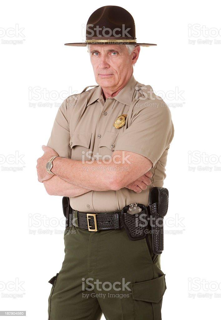 Mature Highway Patrolman Portrait royalty-free stock photo
