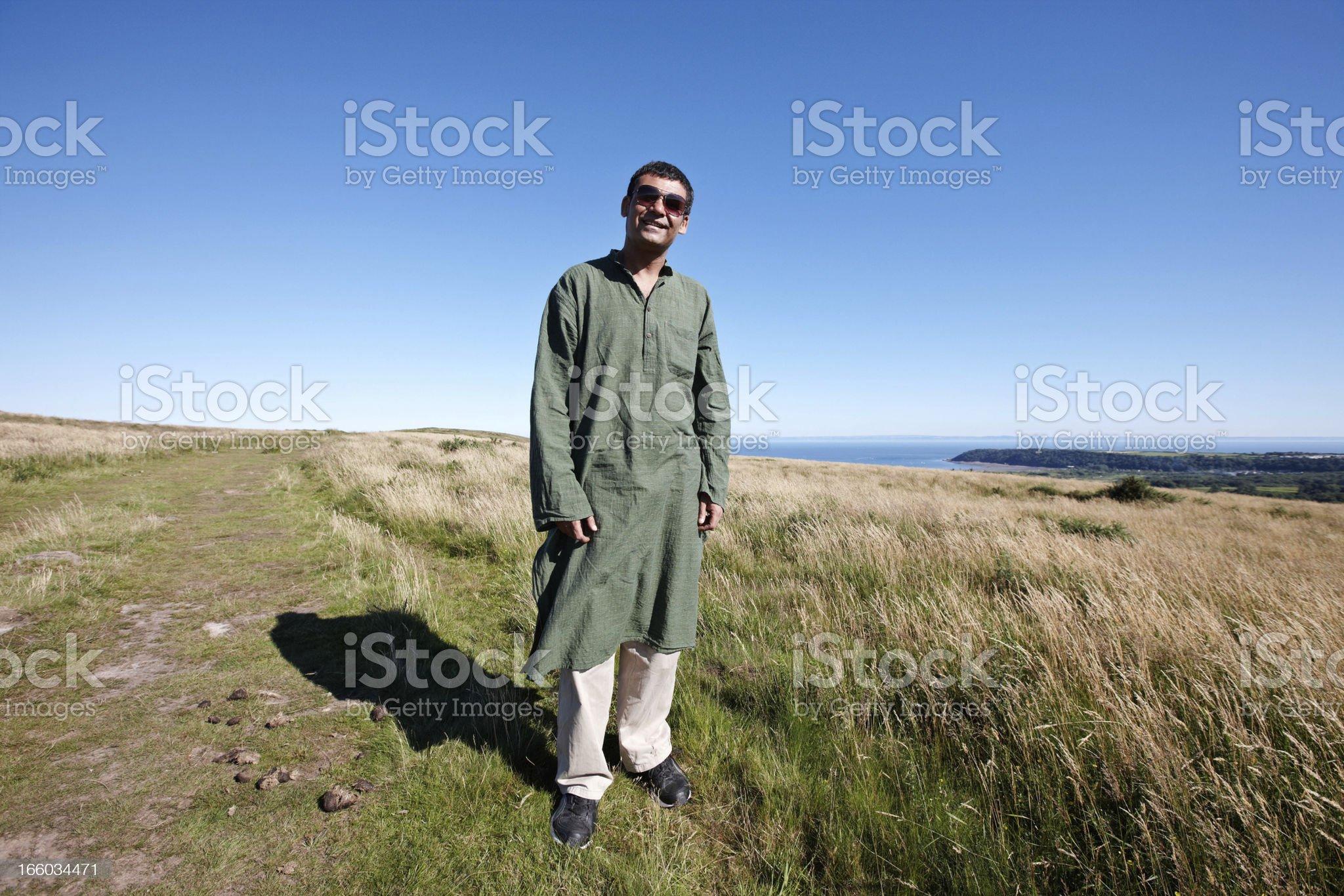 Mature indian man on Gower peninsula royalty-free stock photo