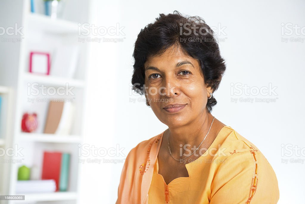 Mature Indian woman stock photo