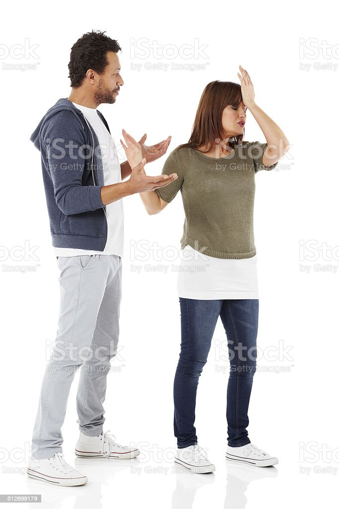 Mature interracial couple having a fight stock photo