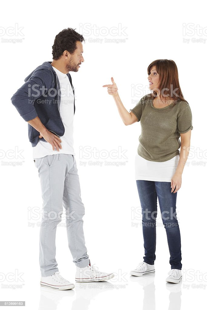 Mature interracial couple having an argument stock photo