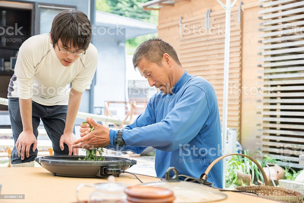 Mature Japanese Father Teaching Son to Roll Fresh Tea Leaves stock photo