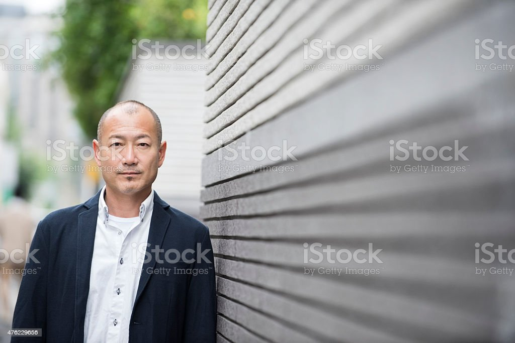 Mature Japanese man portrait stock photo
