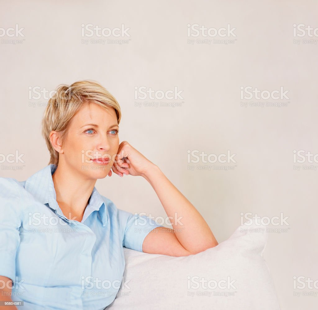 Mature lady contemplating with copyspace royalty-free stock photo