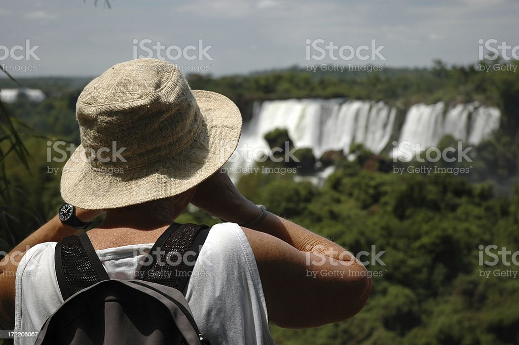 Mature lady on holiday. stock photo