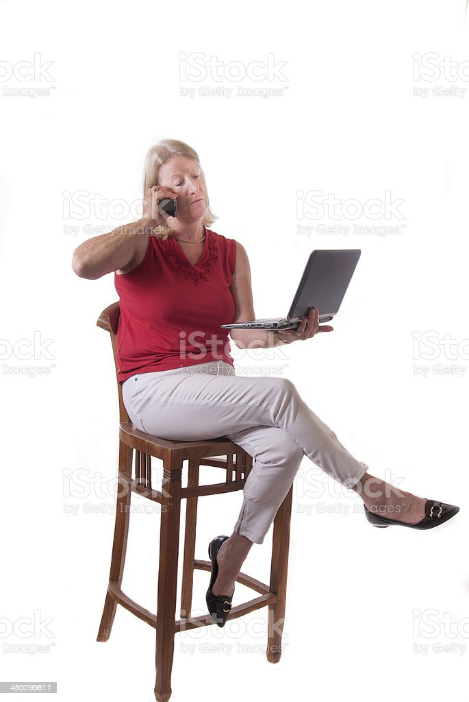 Mature Lady with modern technology royalty-free stock photo