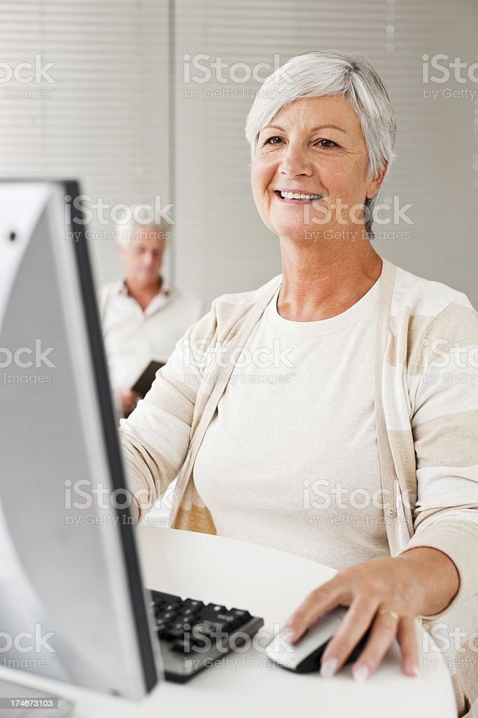 Mature lady working on the computer at home royalty-free stock photo