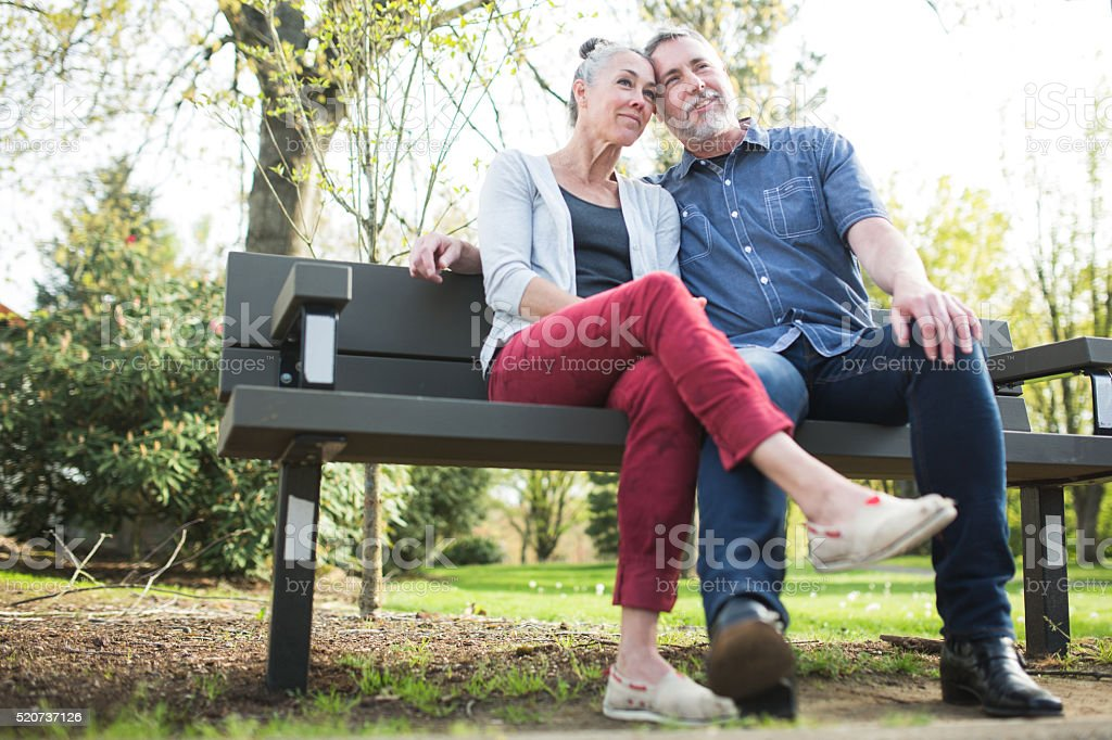 Mature Loving Couple at Park stock photo