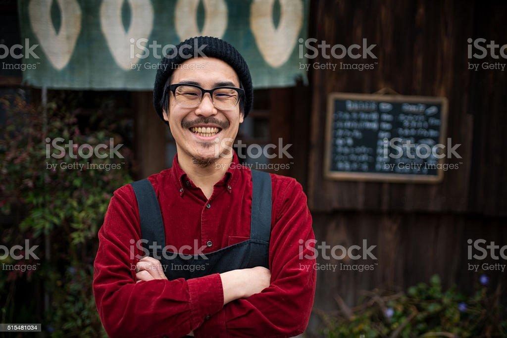 Mature male barista stock photo