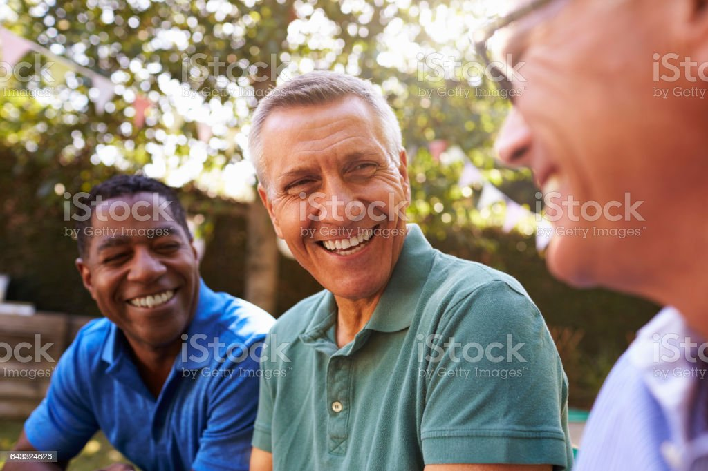 Mature Male Friends Socializing In Backyard Together stock photo