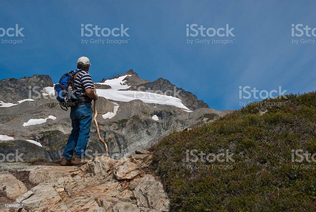 Mature Male Hiking on Sahale Arm stock photo