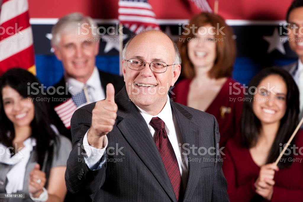 Mature Male Politician Thumb Up stock photo