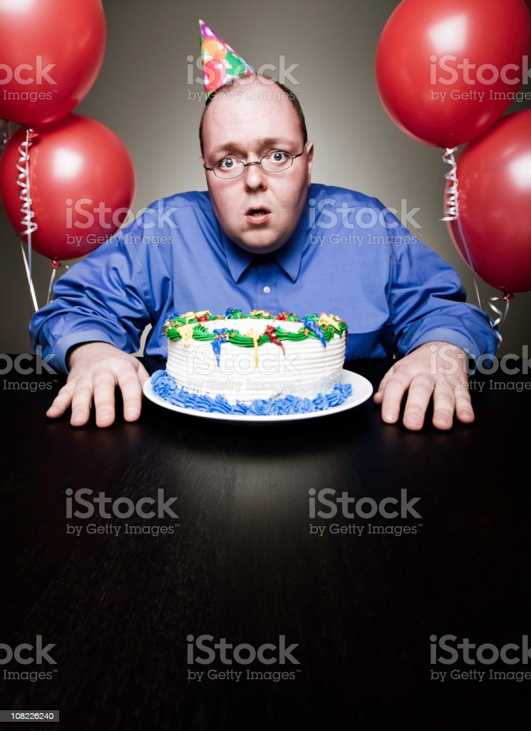 Mature Man Celebrating Birthday