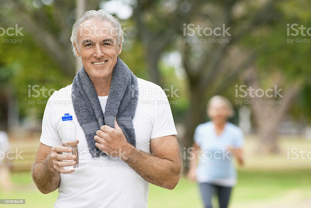 Mature Man Cooling Off After Workout royalty-free stock photo