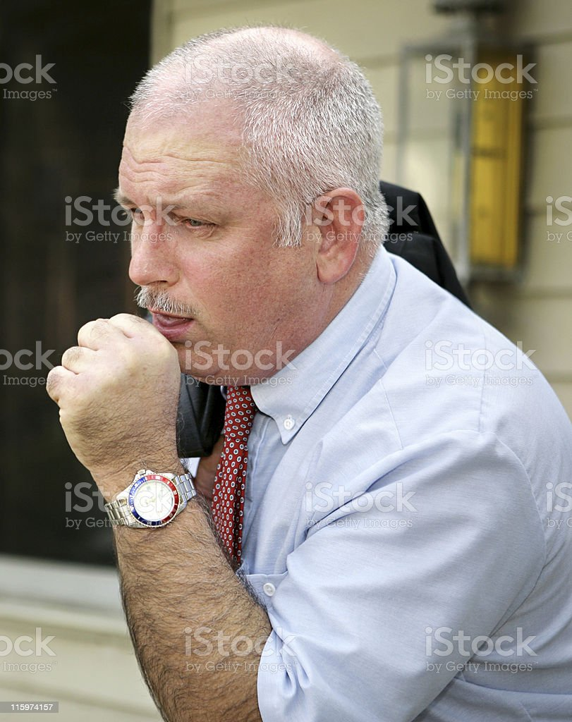 Mature Man Coughing royalty-free stock photo