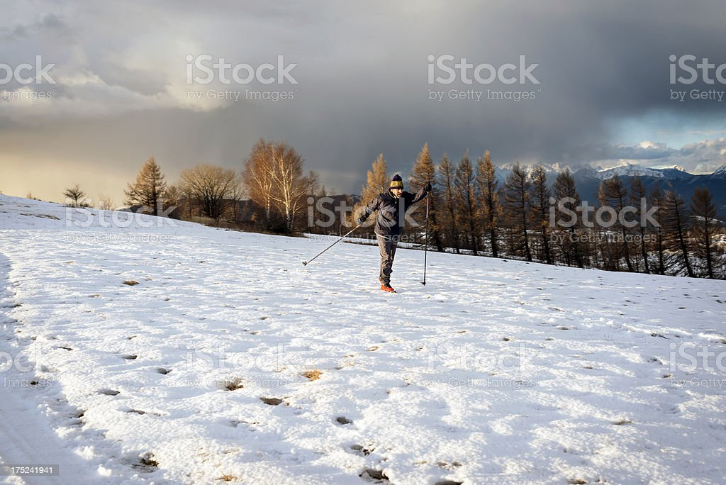 Mature Man Country Sking in Julian Alps Slovenia royalty-free stock photo