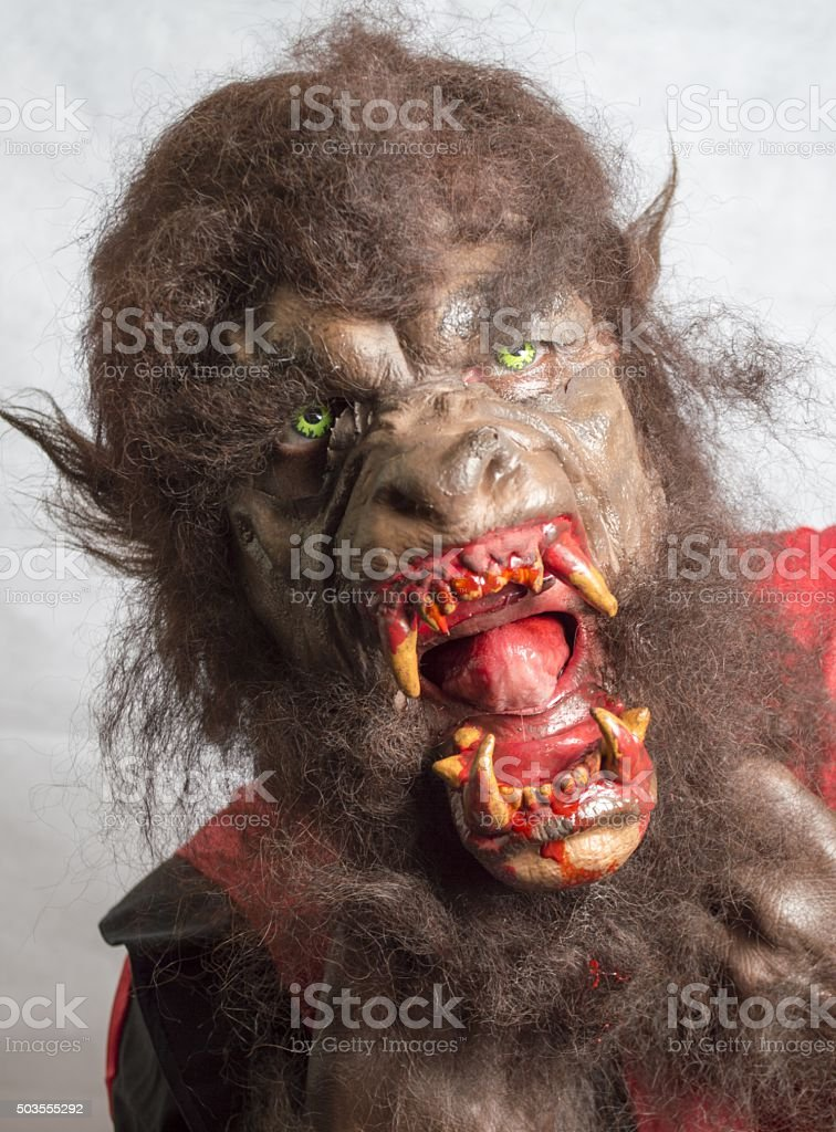 Mature man dressed as a werewolf stock photo
