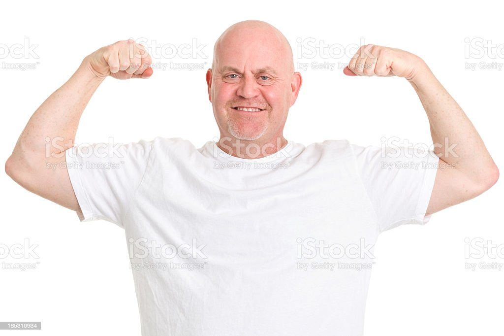 Mature Man Flexing Arms stock photo