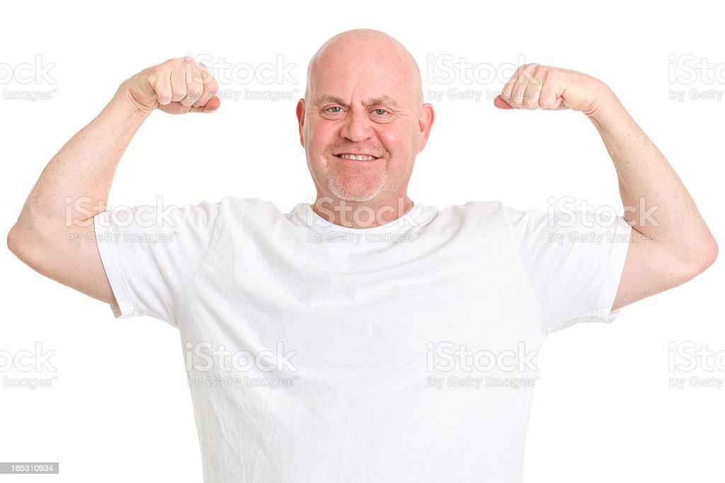Mature Man Flexing Arms stock photo