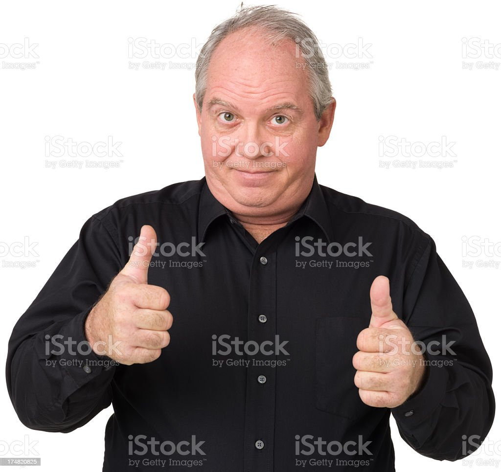 Mature Man Gives Two Thumbs Up royalty-free stock photo