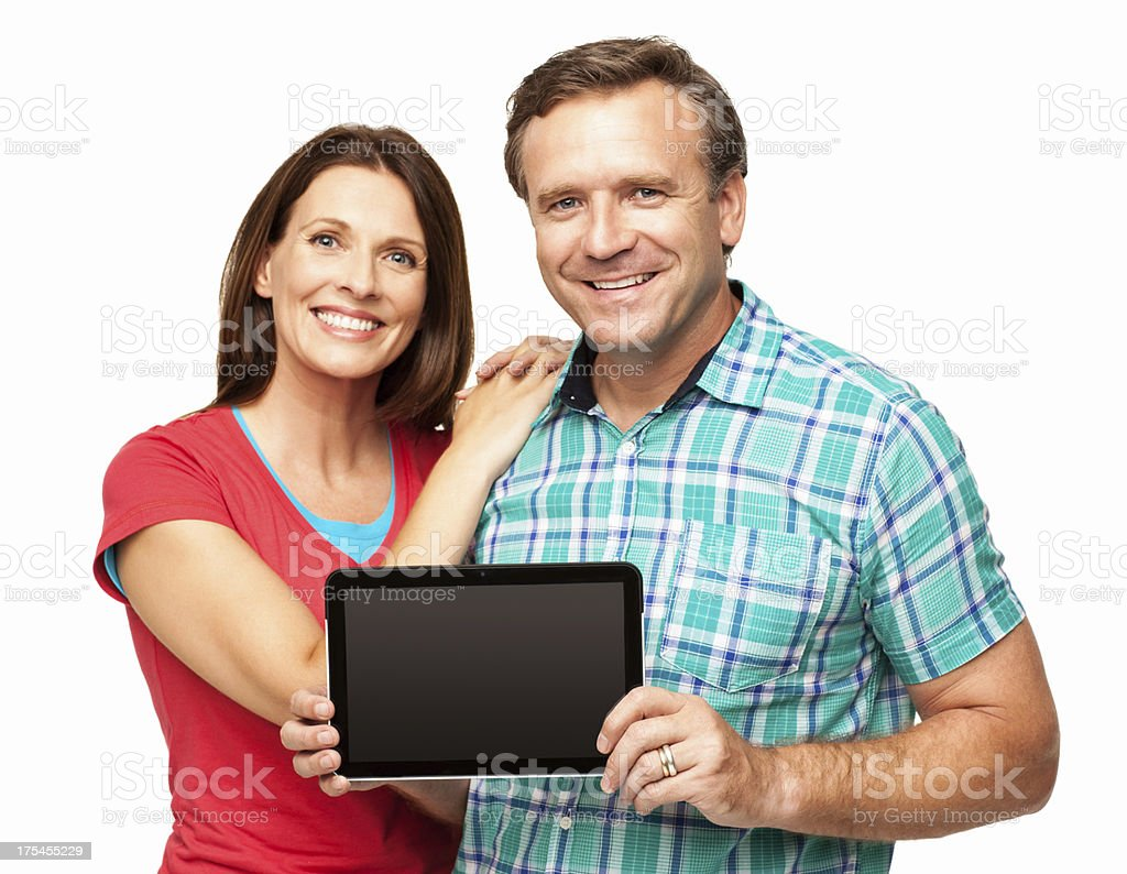 Mature Man Holding a Digital Tablet - Isolated royalty-free stock photo