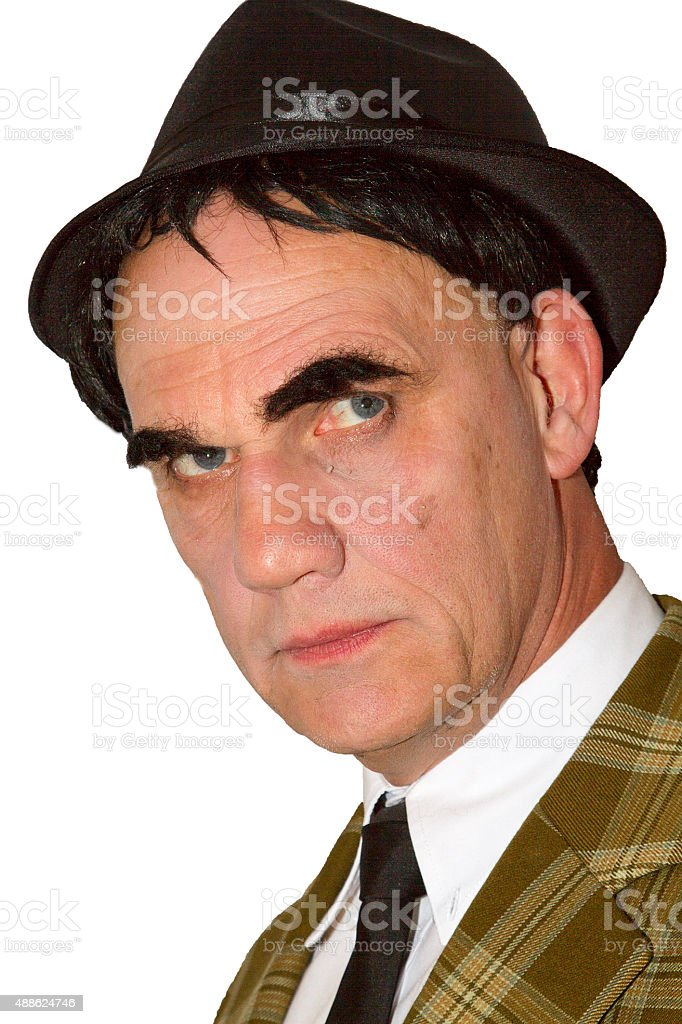 Mature man in a Trilby hat stock photo