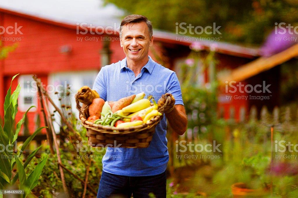 Mature Man in Garden stock photo