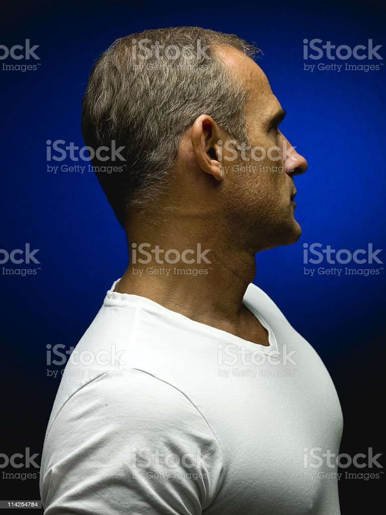 Mature man in tshirt stock photo