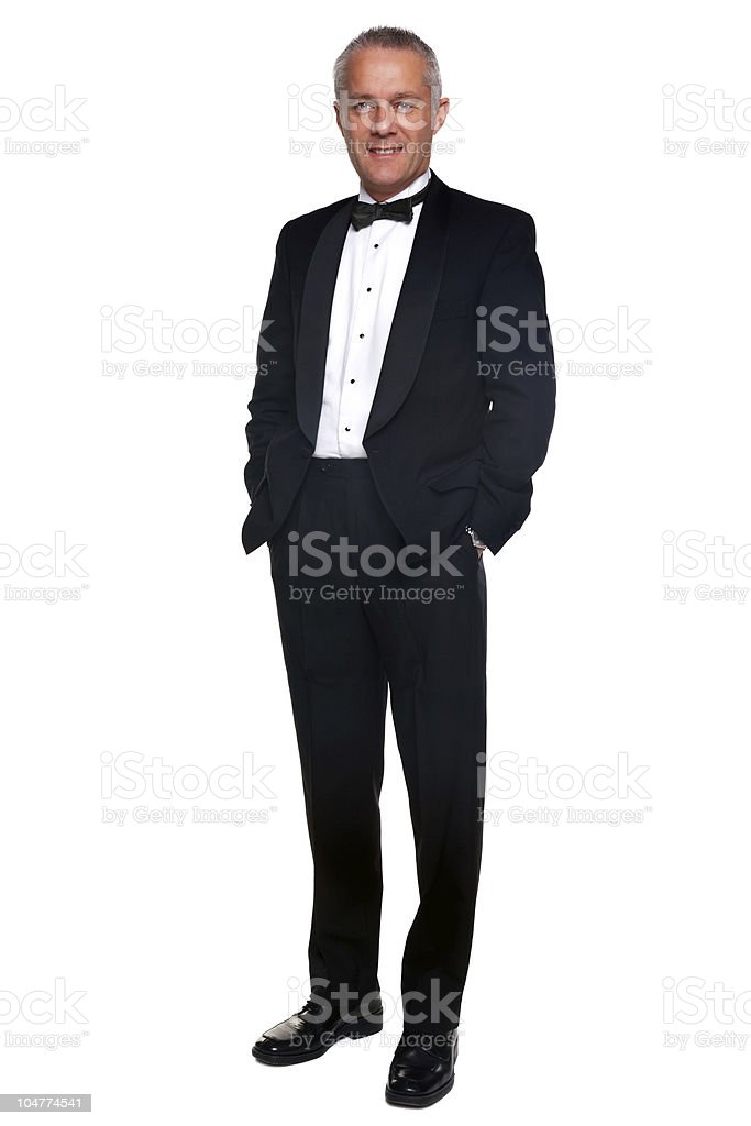 Mature man in tuxedo and black tie. stock photo
