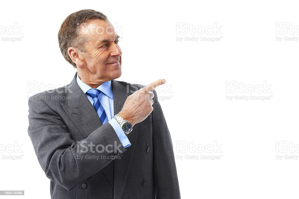 Mature man isolated on white background looking into camera royalty-free stock photo