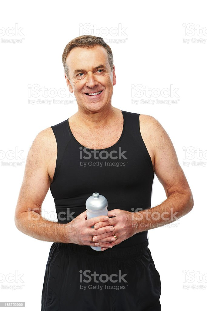 Mature man isolated on white background with water bottle royalty-free stock photo