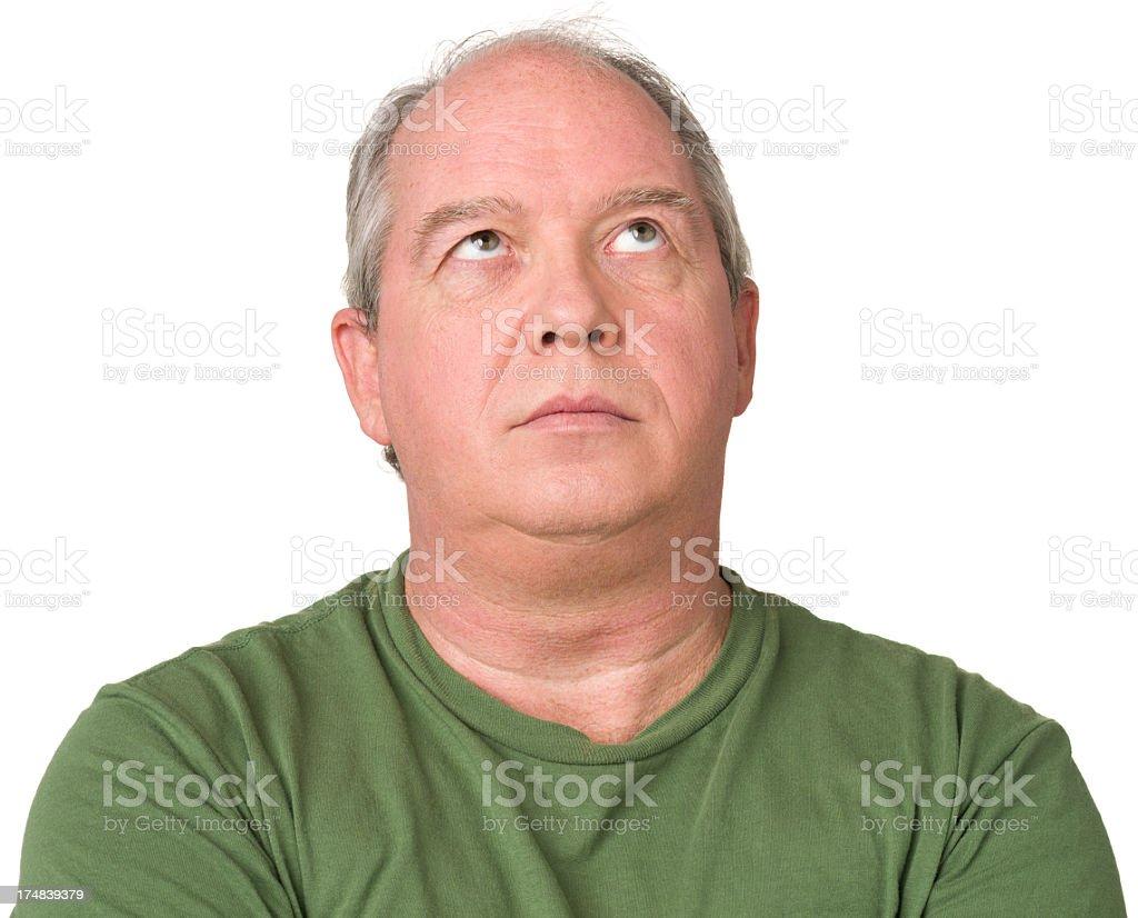 Mature Man Looking Up royalty-free stock photo