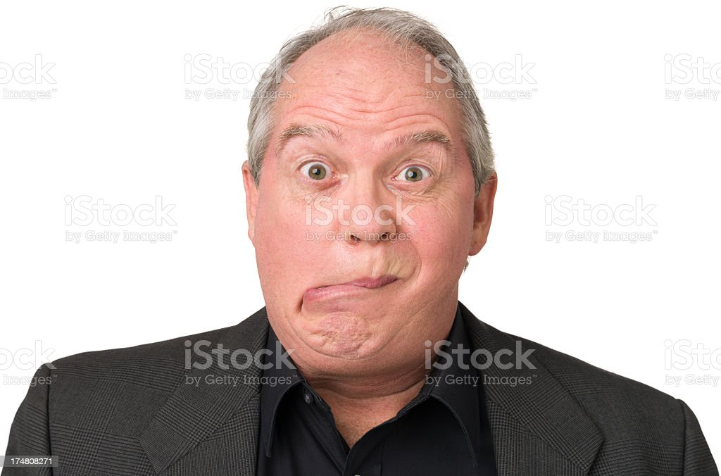 Mature Man Makes Funny Face royalty-free stock photo