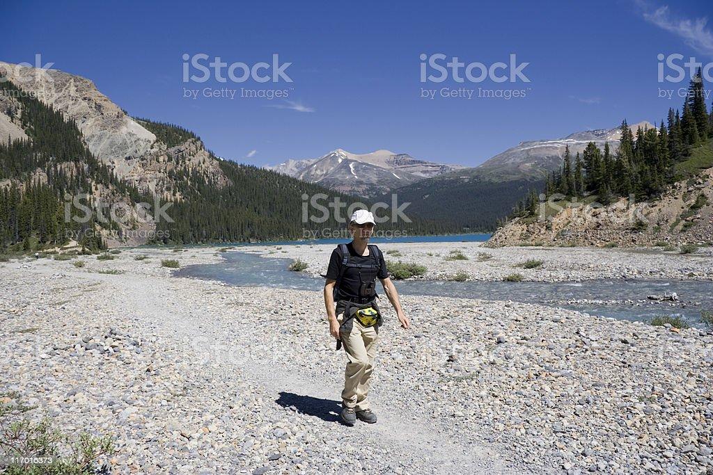 mature man mountain hiking royalty-free stock photo