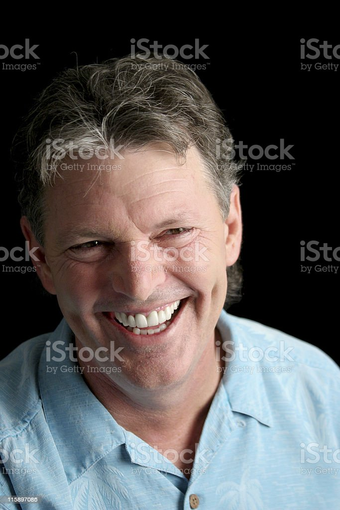 Mature Man on Black - Laughter stock photo