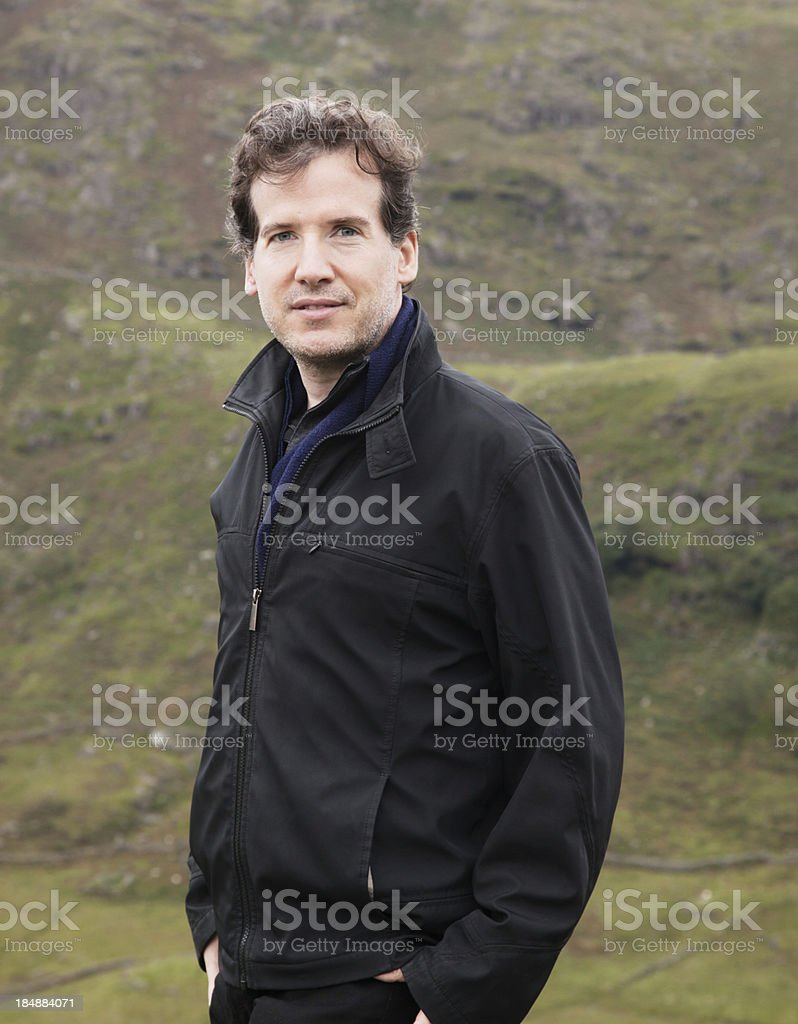 Mature man posing in Welsh nature royalty-free stock photo
