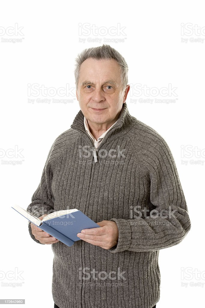 mature man reading a book royalty-free stock photo