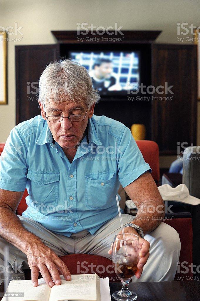 Mature Man Reading Book stock photo