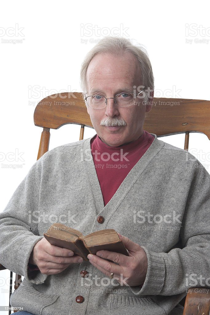 Mature Man Reading the Bible (XXL) royalty-free stock photo
