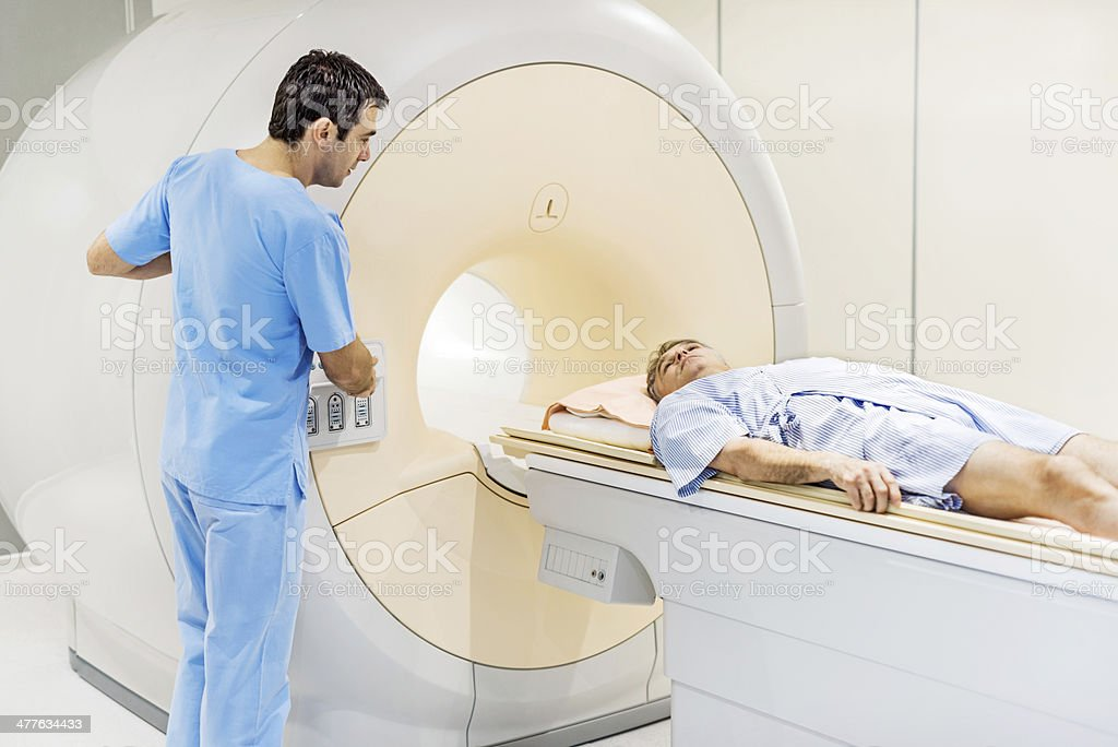 Mature man receiving an MRI Scan. royalty-free stock photo