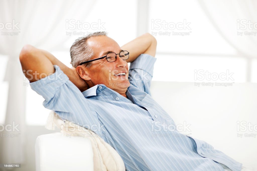 Mature man resting at home. royalty-free stock photo