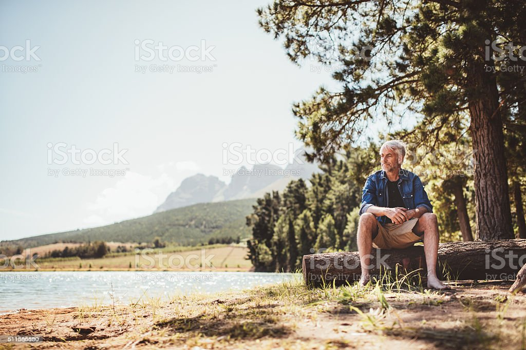 Mature man sitting on wooden log by the lake stock photo