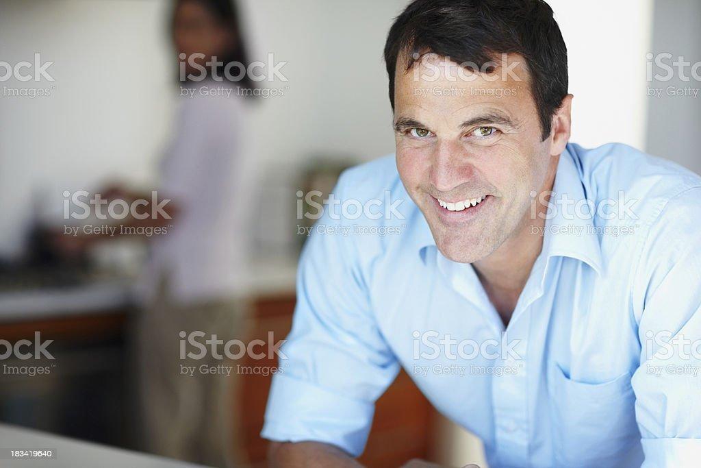 Mature man smiles at you royalty-free stock photo