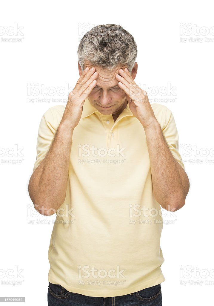 Mature man stress with problems royalty-free stock photo