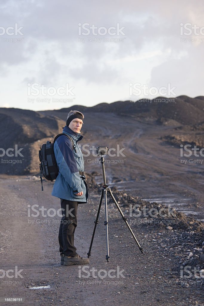 Mature Man using Camcorder royalty-free stock photo