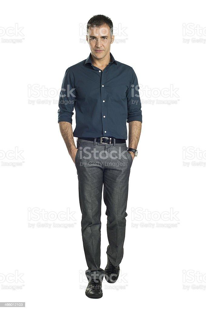 Mature Man Walking stock photo