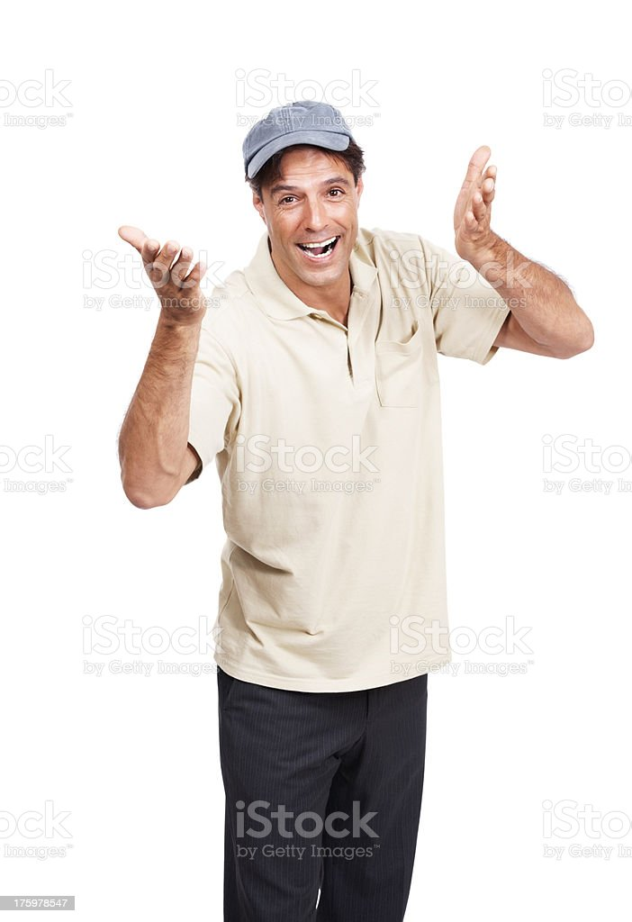 Mature man wearing a cap laughing at you on white stock photo