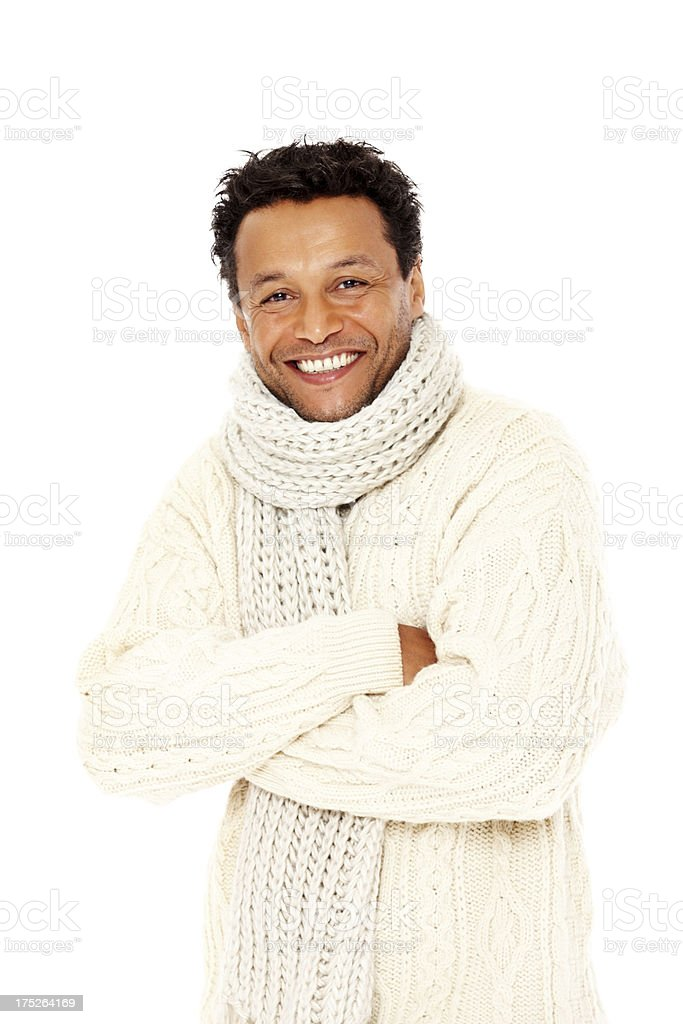 Mature man wearing a sweater feeling cold royalty-free stock photo