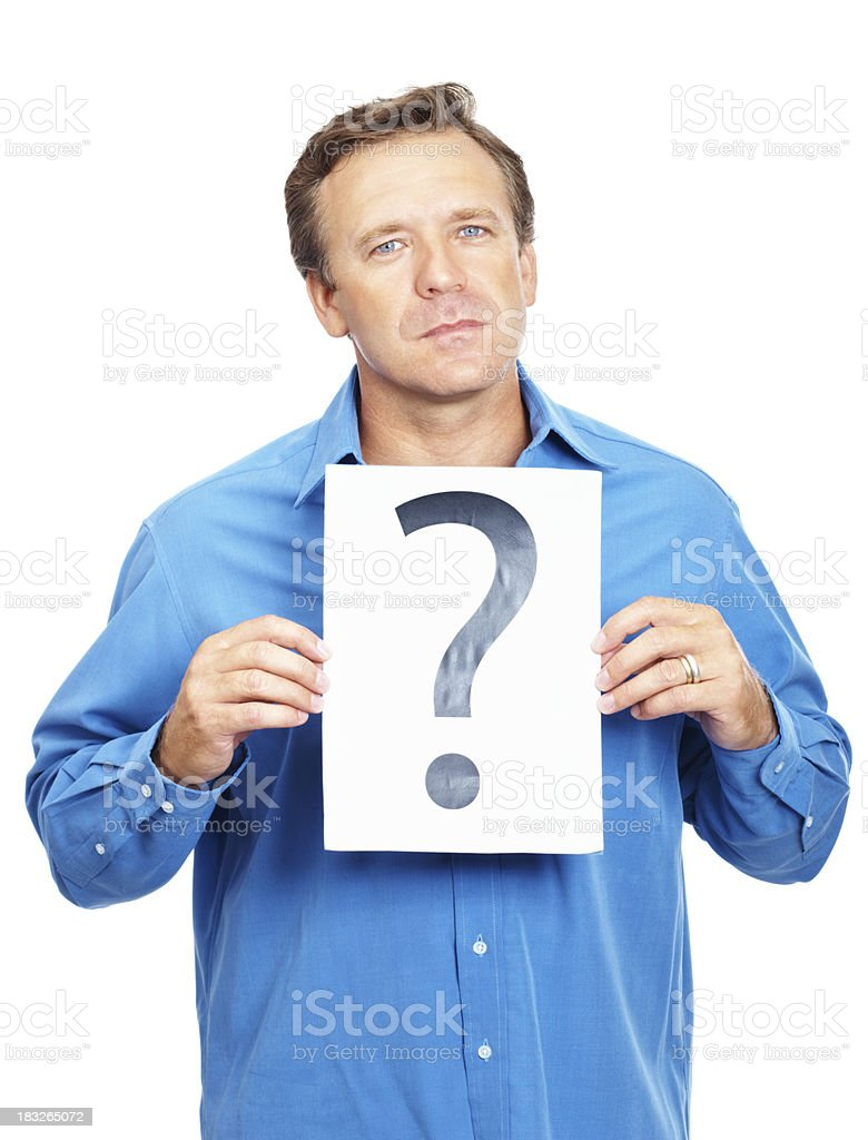 Mature man with a question isolated on white royalty-free stock photo