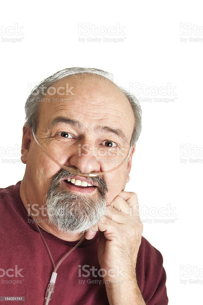 Mature Man With Breathing Disability stock photo